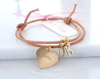 Personalised leather bracelet,mothers day gift ,family bracelet with initials