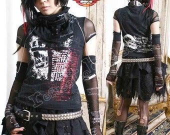 Gothic Punk Rock Visual Kei Jrock Gear Top w/ Arm Warmer Glove Neck Wrap Scarf