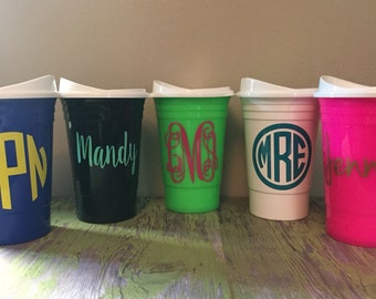 Personalized Solo Cups, Monogrammed Solo Cups, Double-Walled Solo Cups, 16 oz Personalized Solo Cups