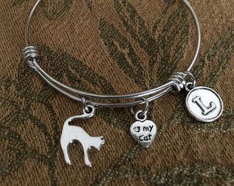I LOVE MY CAT Adjustable Stainless Steel Bangle Bracelet with Initial Charm