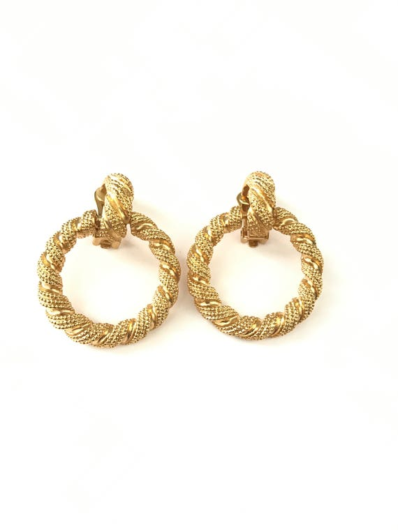 Vintage Gold Plated Etruscan Style Granulated Door Knocker Hoop Earrings by Etsy