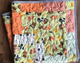 Free Shipping, Baby Quilt, Girl, Boy,Quilt,Gender Neutral,Woodland Baby Quilt