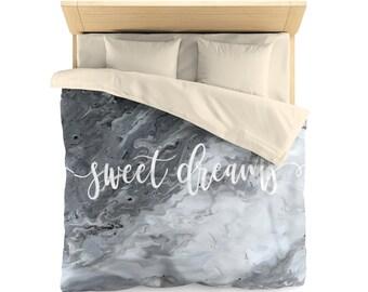 sweet dreams, marble design, Duvet Cover, bedroom decor