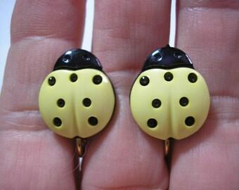 """Play Earring - Clip - Ladybug - Yellow - 5/8"""""""