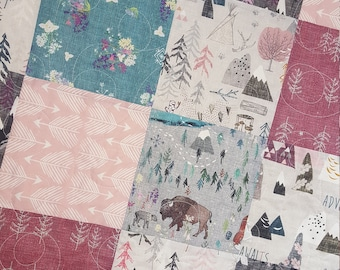 Woodland Baby Girl Quilt, Toddler Girl Bedding, Crib Quilt, Nursery Bedding, Baby Bedding, Adventure Awaits, Floral Mountain