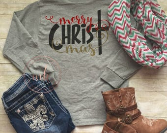Monogrammed- Merry CHRISTmas Shirt-  Womens Christmas Shirt- Christmas Party Shirt- Holiday Shirts-Tops and Tees-Christmas-Hoilday Shirt