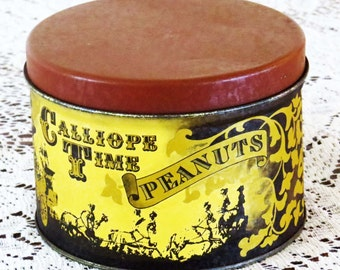 """Reduced! Vintage CALLIOPE TIME PEANUT Tin / 5"""" Round Collectible J. L. Clark Illinois / Mid-Century Collectible Tin / Fill w Cookies & Candy"""