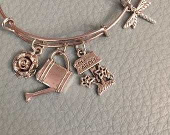 Garden Friend Silver Bangle Inspired by Charm bracelet Rose, Gardener, Plants, Outdoor, watering can, dragonfly, Fast Shipping