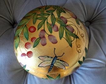 Andrea by Sadek Toscana by Brenda Walton Gold Leaf Dragonfly Green Leaf Berries Dresser Vanity Jar
