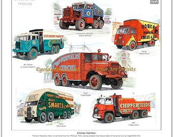 CIRCUS LORRIES 1950/60's - Fine Art Print (Chipperfield, Billy Smart, Fossett's)