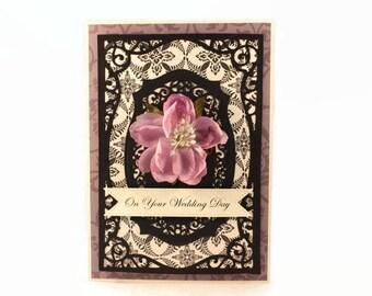 Wedding Card, Luxury Wedding Card, Fancy Wedding Card, Card For Wedding Couple, Wedding Gift, Purple Wedding Card, Elegant Wedding Card