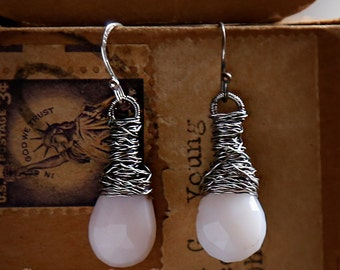 Strung-Out guitar string earrings with Pink Opal