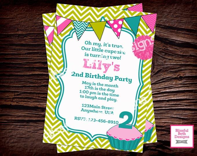 LILY CUPCAKE INVITATION  Cupcake Birthday Invitation, Cupcake Invitation, Chevron Cupcake Birthday Invitation, Cupcake Invite, Second Bday