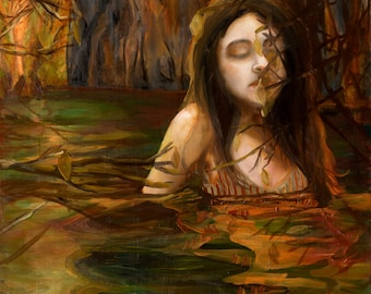 Reflection - Giclee Art Print, Large Wall Art, Woman in Water, Figure Painting