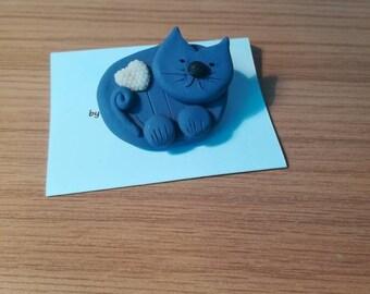 Brooch polymer clay Cat Brooch