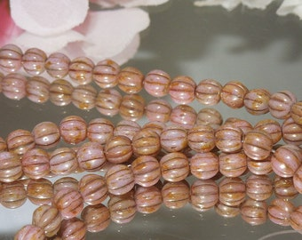 25 Pressed Czech Glass Fluted Luster Melon Beads- Soft Pink- 5mm