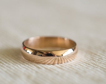 14K Gold Band Simple Wedding Band Solid Gold Band Domed Band Gold Wedding Ring Classic Band