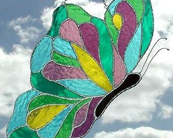 """Stained Glass Sun Catcher, Butterfly Design, Glass Sun-Catcher, Handcrafted Glass Suncatcher, Butterflies, Garden Art, 7"""" x 12"""" - 9781-AQ-MM"""