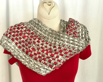 Wolfpack Infinity Scarf with Fabric Tape Yarn