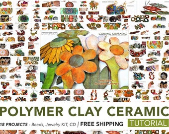 Polymer Clay Tutorial, Necklace Tutorial, Home Decor, PDF Tutorial, Polymer Clay Beads, Faux Ceramic, Polymer Ceramic, Video Tutorial, Fimo
