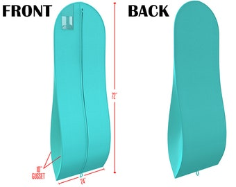 """Tiffany Blue Gusseted Gown Garment Bag for Dresses - Travel Folding Loop, ID Window - 72"""" x 24"""" with 10"""" Tapered Gusset"""