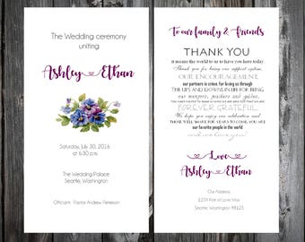 Pansies Wedding Programs 100 Wedding Ceremony Personalized and Printed Programs