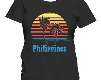 Philippines Sunset Palm Trees Beach Vacation Women's T-Shirt