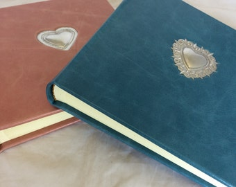 """9x9"""" leather album with Mexican Tin heart decoration"""