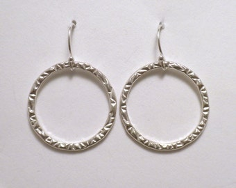 Sterling Silver  Large Stamped Circle Earrings