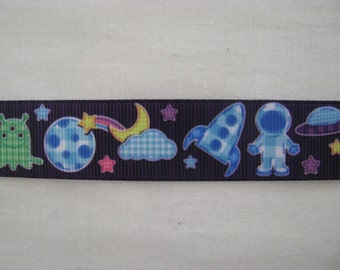 space rocket planet 7/8' grosgrain ribbon