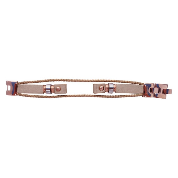 Interchangeable leather band Fusion Fuison 2 - ROSE GOLD - by fitjewels -