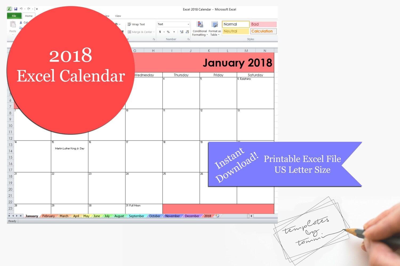Excel 2018 Kalender bedruckbar Druckbare 2018 Excel Kalender