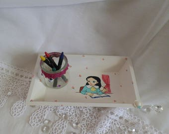 Small wooden tray hand painted