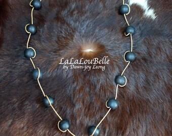 Black Stone Pendant & Wooden Bead Necklace