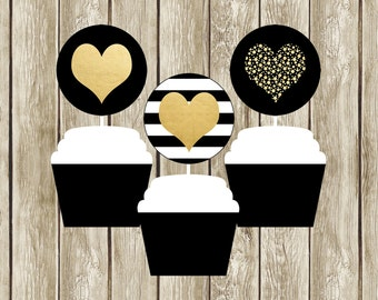 Black White and Gold Cupcake Toppers, Printable Cupcake Toppers, Heart Cupcake Toppers, Black White and Gold, Cupcake Toppers, 003, 014