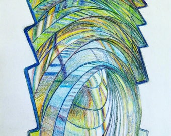 Lighthouse Lens, Unframed, A3 size, Colored Pencil Drawing on paper