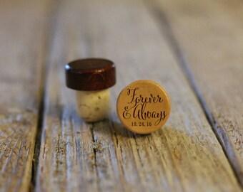 Single Personalized Custom Wine Stopper, Laser Engraved Cork Bottle Topper, Customized Rustic Wedding Favor, Reusable --WS-L-Forever&Always