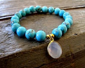 Positive Energy |Turquoise Bracelet Set Healing Jewelry Chalcedony Bracelet Yoga Bracelet Stack Boho Bracelet Mala Bracelet Beach Jewelry