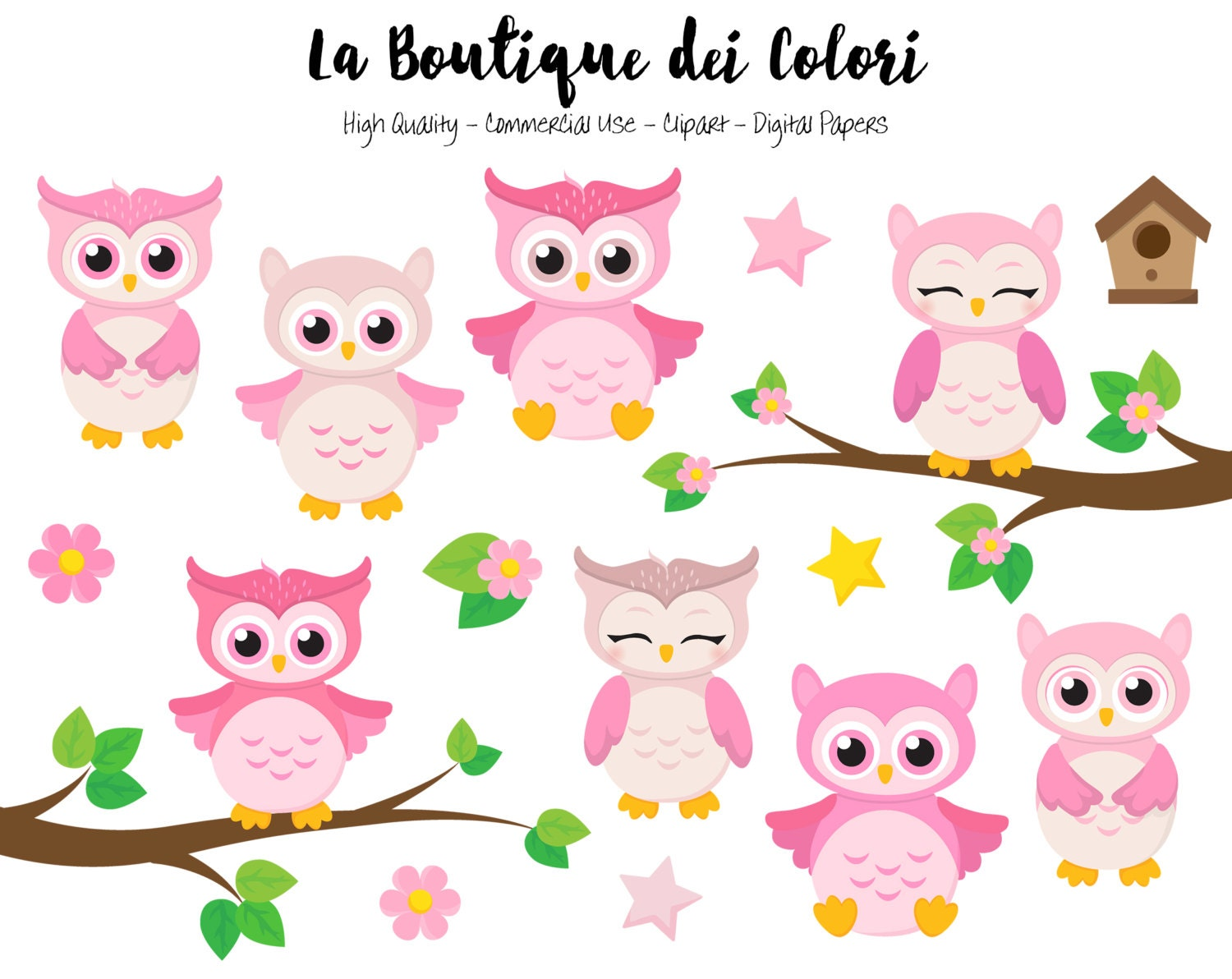 pink baby owls clipart cute graphics png birds animals its rh etsy com baby owl clip art free cute baby owl clipart