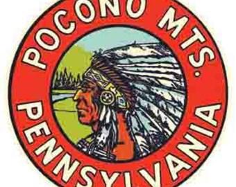 Vintage Style Pocono Mountains PA  Pennsylvania   Travel Decal sticker
