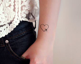 heart with plane temporary tattoo / small temporary tattoo / travel temporary tattoos / airplane tattoo / love plane tattoo / traveler gift