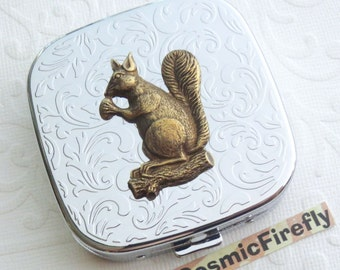 Squirrel Pill Case Steampunk Pill Case Mirror Case Silver Pill Case Gothic Victorian Steampunk Accessories