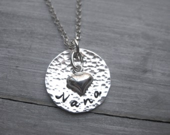 Nana Necklace Sterling Silver Nana Jewelry Hand Stamped Personalized Jewelry Mimi Necklace Grandmothers Necklace Heart Charm