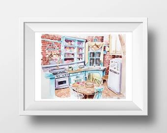 Wall Art Friends TV Show Monica's Apartment Kitchen Watercolor Print,90s Sitcom,Central Perk,Monica Chandler Ross Rachel Joey Phoebe,Print
