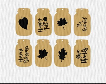 mason jar fall tags gift tags svg dxf jpeg png file stencil monogram frame silhouette cameo cricut clip art commercial use