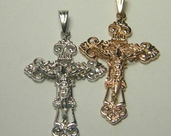 14kt white/ rose gold crucifix pendant