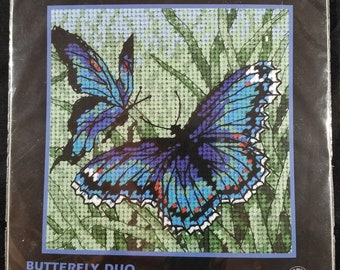Small Needlepoint Kit Blue Butterfly Duo--UNOPENED