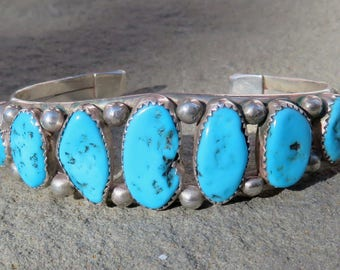 Navajo Bracelet,Navajo Turquoise,Native American Turquoise Jewelry,Navajo Jewelry,Navajo Turquoise Cuff,Turquoise Row Bracelet,Turquoise