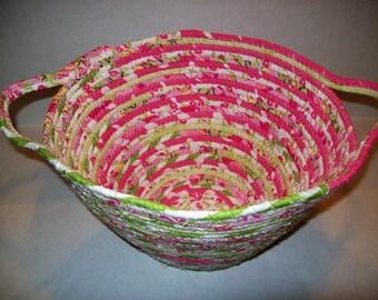 Handmade Coil basket, large round clothesline basket storage basket egg basket coiled fabric basket, handle basket  pink lime green . INVA5