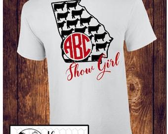 GEORGIA Show Girl T-Shirt / Cow Show / Cattle Shirt / Georgia Ag / County Fair Stock Show / Mom, Sister, Nana - Up to a 5X (G2000) #1338